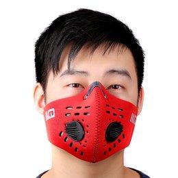 PM2.5 Filtro protector de carbono Mascarilla facial Dos válvulas de exhalación Antipolvo mufla Deportes al aire libre Bicicleta Motor Máscara a prueba de viento desde fabricantes