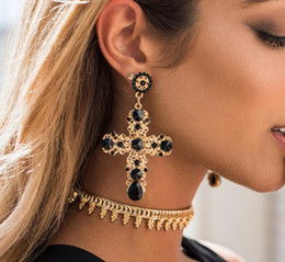 Wholesale Dangle Diamond Cross Earrings - Europe and the United States big crystal Earrings cross pendant earrings Jewelry For Women Party Gift .60 pcs 30 pair Free shipping 113