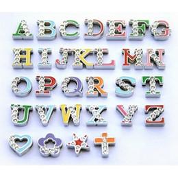 2019 alphabet buchstaben rhinestones großhandel Großhandelspreis 130pcs-260pcs 8mm Mix Farbe Half Strass Charmign Buchstaben Englisch Alphabet A - Z DIY Slide Letters Charms rabatt alphabet buchstaben rhinestones großhandel