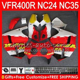 Carenado vfr amarillo online-RVF400R para HONDA VFR400 R NC24 V4 VFR400R 87 88 94 95 96 81HM21 RVF VFR 400 R NC35 Amarillo rojo VFR 400R 1987 1988 1994 1995 1996 Carenados