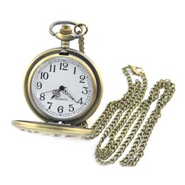 watch pendants Australia - Lover's Bronze Vintage Antique and Gun Pattern Pocket Watch Necklace Pendant Clock Pocket Watch with Chain