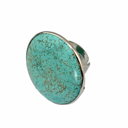 Wholesale big adjustable rings - whole saleFashion Bohemia Punk Silver Metal Big Round Green Stone Ring For Women Wedding Party Gift Bijoux Jewelry Finger Adjustable Ring