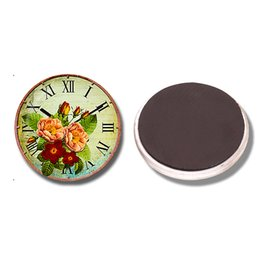 Wholesale Vintage Glass Flower Cabochon - Vintage Clock with Flowers 30 MM Fridge Magnet Vintage Glass Cabochon Magnetic Refrigerator Stickers Note Holder Home Decoration