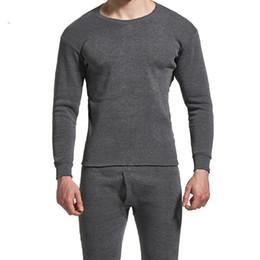 Sottogonne lunghe da uomo online-Winter Men Long Johns Addensare Set da intimo termico da uomo Plus Fluff Warm Long John O-Neck Thermal Undershirts Pantaloni