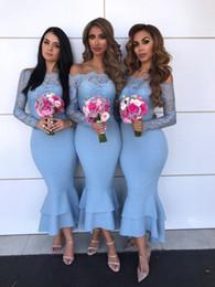 demoiselle d'honneur bleu royal robes cristal ceinture Promotion 2018 manches longues robes de demoiselle d'honneur robes de bal gaine demoiselle d'honneur robes de soirée robes de soirée robe