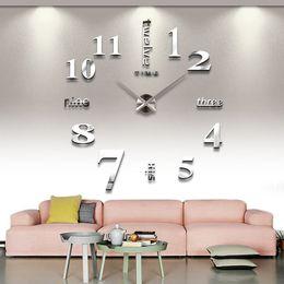 Wholesale Diy 3d Clock - Living Room Decorations Bedroom Wall Stickers Diy Clock Personalized Home Art 3D Mirror Wall Clock Mute Clock