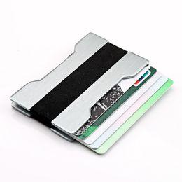 cartes glissières Promotion Porte-carte d'identité en aluminium en aluminium avec protection anti-blocage Protéger de bloquer le portefeuille Porte-cartes portable Clip Porte Carte Carte