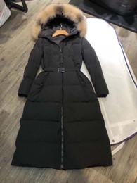 Argentina Mujeres chaqueta de invierno para mujer cuello de piel de zorro real pato abajo dentro abrigo cálido femme abrigo largo 811 Suministro