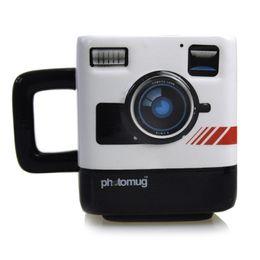 Wholesale Ceramic Camera - 1pcs cute Creative Trend Photo Mug Retro Camera Shape Mug Ceramic Coffee Gift Cup Free Shipping