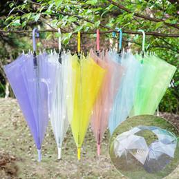 Wholesale wholesale plastic poles - Transparent Clear Umbrella Dance Performance Long Handle Umbrellas Colorful Beach Straight pole automatic rain Sun umbrella 120PCS GGA52