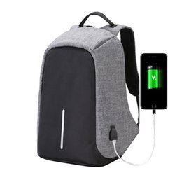 Wholesale Vintage Usb - Fashion Canvas Men Backpack Anti Theft With Usb Charging Laptop Business Unisex Knapsack Shoulder Waterproof Women Travel Bag