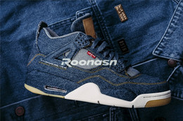 Wholesale Jeans Cut Man - New Air 4 Denim LS Nrg Blue Jeans Men Basketball Shoes 4S Jiont Limited Mens Trainers Sports Sneakers With Original Box Size 8-13