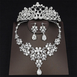 Wholesale Newest Necklaces - 2018 Newest Drop Rhinestone Wedding Jewelry Set Necklace Crown Tiaras Crown Earrings Headwear Beading Three Piece Party Bridal Accessories