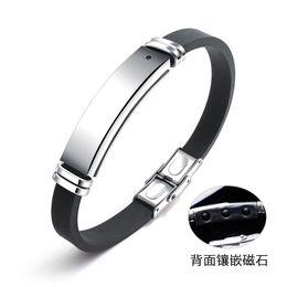 fashion magnetic therapy bracelet 2018 - JeeMango Engravable Men Charm Bracelets Healthy Energy ID Bangles Fashion Black Magnetic Stone Silicone Therapy Bracelet OPH1276