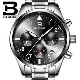 a71a76b98b3 BINGER Sports Chronograph Herren Piloten Armbanduhren Schwarz Stahl Armband  Top Luxusmarke Männer Quarz Uhr Junge Armbanduhr