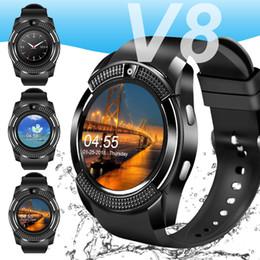 Telefones touchscreen on-line-Para apple smart watch smartwatch v8 bluetooth telefone relógios de pulso com câmera touchscreen slot para cartão sim câmera para iphone android homens mulheres