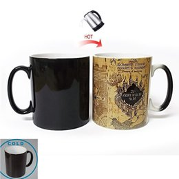 Wholesale heat maps - New Marauder Map Heat Changing Mug Coffee Official Ceramic Water Tea Cup Map Mugs Water Cup for Children Christmas gift TY7-411