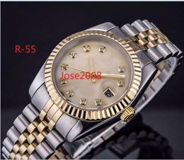 Wholesale crown brown - High Quality TOP LUXURY WATCH RO Datejust 36 self-winding mechanical movement Gold dial Fluted bezel Concealed folding Crown clasp Men watch