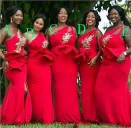 Wholesale satin one shoulder wedding dress - Red One Shoulder Mermaid African Bridesmaid Dresses Ruffles Waist Appliques Beaded Gold Bridesmaid Dress Plus Size Wedding Guest Gown BA9305