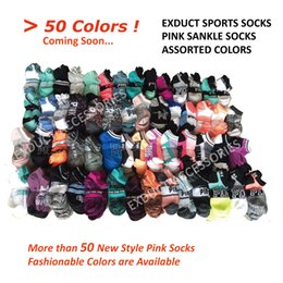 Wholesale Art Stocks - New Style Pink Sports Ankle Socks Skateboard Cotton Men Women Girls Love Pink Letter Sock Football Cheerleaders Short Socks Sneaker Stocking