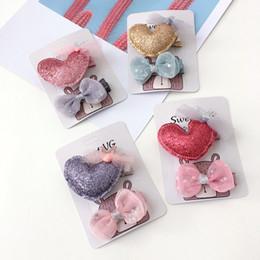 Wholesale kawaii heart - Boutique 12sets 2in1 Fashion Kawaii Glitter Heart Hairpins Solid Cute Bow Hair Clips Princess Headware Hair Accessories