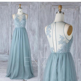 Wholesale Ladies Formal Dresses - 2018 A line Ice Blue Long Bridesmaid Dress Chiffon Lace Appliqued Keyhole Back Sexy sleeveless Cheap Custom Made Wedding Formal Lady Dress