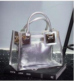 Wholesale Small Transparent Beach Bags - New female transparent small bag jelly beach bag shoulder diagonal bag handbag