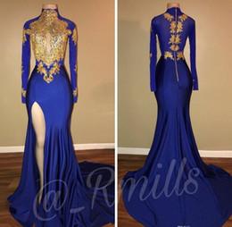 Canada Royal Blue 2018 or dentelle appliques robes de bal à col haut sirène trou de serrure à manches longues côté africain split fille noire robes de soirée parti Offre