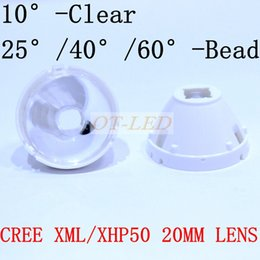 Wholesale Led Reflector 12v - 1pcs CREE XML LED XML2 LED XHP50 Lens 20mm white holder 10 25 45 60 degree LENS Reflector Collimator