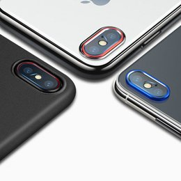 Wholesale glass lens camera - 2Pcs  Lot Transparent Camera Lens Screen Protector For iPhone X Tempered Glass+ Metal Rear Camera Lens Protective Ring