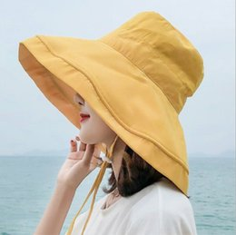 Chapeaux solaires de plage réglables en Ligne-Femmes Floppy Sun Hats Chapeau De Pêcheur Large Bord Seau Chapeau Chapeau pour Garden Beach Travel En plein air soleil pluie chapeau avec sangle réglable