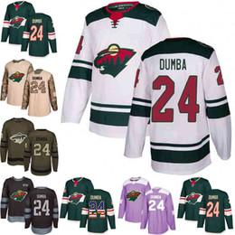 Personalizado S-XXXL Hombres Mujeres Jóvenes 2018 Minnesota Wild 24 Matt Dumba Verde Blanco Ejército Verde Negro 100o Camo Hockey Jerseys desde fabricantes