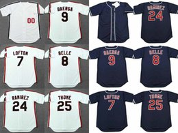Wholesale Red Belle - men youth Cleveland 7 KENNY LOFTON 25 JIM THOME 8 ALBERT BELLE 24 MANNY RAMIREZ 9 CARLOS BAERGA 1995 Throwback Cooperstown Baseball Jersey