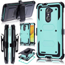 Wholesale protective holster belt - FOR ZTE Grand X Max2 Z988 Z981 2018 Armor Hybrid Case 3 in 1 Combo Holster Belt Clip Protective Defender Kickstand Phone Cover