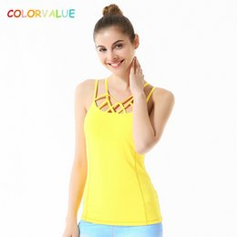 Wholesale Yellow Dance Top - Colorvalue Chic Hollow Out Yoga Vest Women Slim Fit Dance Fitness Tank Tops Nylon Sport Sleeveless Shirts with Removable Pads