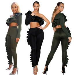 Wholesale one lantern - New Sale Fashion One Sleeve Ruffles Two piece Outfits 2018 Spring and Autumn Leisure Women Tracksuits Casual Sporting Top and Long Pants