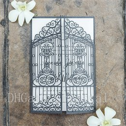 Wholesale slate wholesale - Vintage Slate Grey Intricate Laser Cut Gate-Folded Wedding Invitation Kits , Customizable Invites With Envelope,Free Shipping