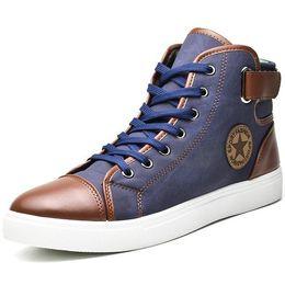 Wholesale Winter Footwear For Men - Fashion High Top Men Shoes Canvas Men Casual Shoes For Autumn Winter Male Footwear Patchwork Plus Size 45 46 47