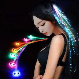 fiber optic light toy Coupons - Luminous Light Up LED Hair Extension Flash Braid Cosplay Party Girl Colorful Hair Glow by Fiber Optic Costume Christmas Halloween Decoration
