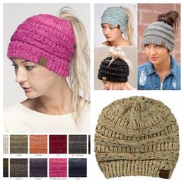 Wholesale Women Crochet Beanie - 14 colors CC Ponytail Hats Beanie Winter Oversized Chunky Skull Caps Soft Cable Knit Slouchy Crochet Hats Ski Hats LJJY955