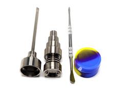 10mm 14mm 18mm Clavos de titanio ajustables Set Glass Bong Tool Domeless GR2 Titanium Nail con Carb Cap Dab Tool Slicone Jar Dab Container desde fabricantes