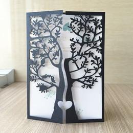 2019 pássaros de corte de papel 50 pcs Corte A Laser 250gsm Pérola Batizado Baptismo De Papel Cumprimento da bênção cartão árvore com pássaro Design Cartões Do Convite Do Casamento pássaros de corte de papel barato