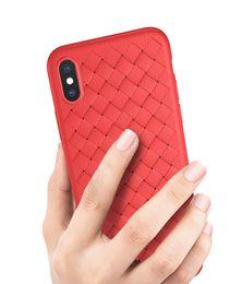 Cassa del telefono a maglia online-Top Quality Weaving Knit Linee in pelle intrecciate Cover in TPU ultrasottile sottile per iPhone XS XR X 6S 7 8 Plus Samsung S9 Plus Nota 9