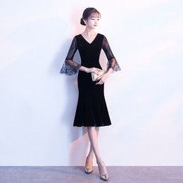 Wholesale Cheap Ladies Formal Dresses - Little Black Dress Short Mermaid Prom Dresses Cheap Real Photo Cocktail Party Dress Real Photo 3 4 Lace Sleeves Ladies Formal Dress 2018