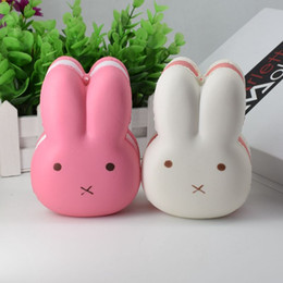 Wholesale Phone Rabbit - 12CM Jumbo Rabbit Bunny Squishy Cake Slow Rising Cute Animal Phone Straps Kid Toys Squeeze Soft Relieve Anxiet Gift For Easter