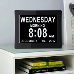 "Wholesale Digital Clock Date Time - 8"" LCD Digital Calendar Day Clock with Large Clear Time Day and Date display, Wall hanging or Desk Shelf clock ideal for Impaired Vision"