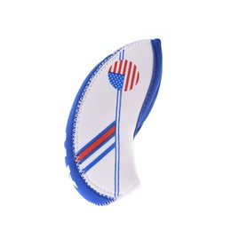 2020 palos de golf hierros 10 unids / set Neopreno Golf Club Iron Head Cover Set Blanco Azul Bandera EE. UU. Headcovers Un tamaño Fit All Irons Accesorios de Golf al aire libre palos de golf hierros baratos