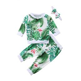 3 Unids Niño Recién Nacido Infantil Del Bebé 2018 Flamingo Flor Verde Sudadera Tops Pantalones Leggings Diadema Trajes Ropa de Otoño desde fabricantes