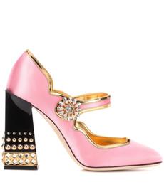 995834f0cc8089 Chunky Heels Damen Kleid Schuhe 2018 Schnalle Rosa Gold Niet Spitze Luxus  Vintage Style Runde Kappe Prinzessin Frauen Abendgesellschaft High Heels ...
