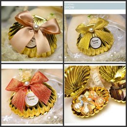 Wholesale Holiday Chocolate Box - Sea Shell wedding party favor holder chocolate gift candy boxes with butterfly knot Wedding Party shower Favors gifts 4 color pick